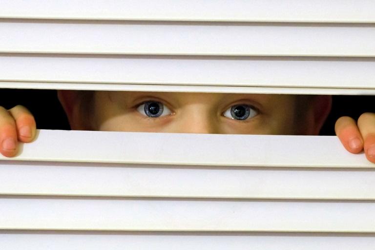 Imagen que muestra una persiana a medias cerrada y un niño que se asoma