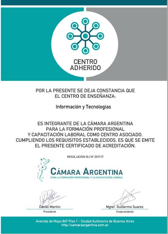 Certificado de la Cámara Argentina para la Formación Profesional y Capacitación Laboral