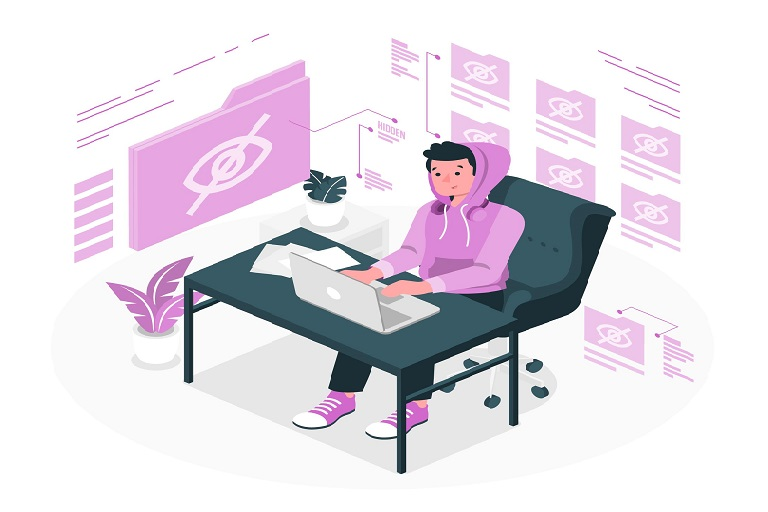 persona, computadora, archivos, símbolo de ocultar