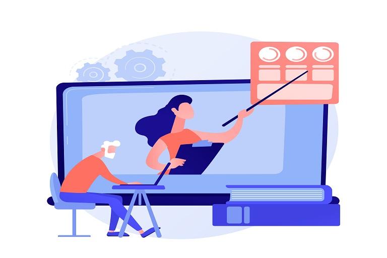 Persona adulta con una clase virtual por computadora