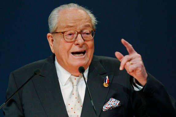 Jean-Marie Le Pen, France's far-right National Front political party leader, speaks during the party's annual congress in Tours