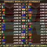 Fixtures for 2019 Cricket World Cup