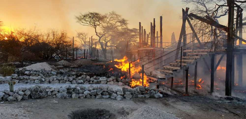 Bush fires destroy grazing Namibia winds under control