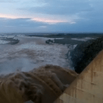 Historic flood reaches Naute Dam