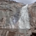 Cascading water forms another rare sight