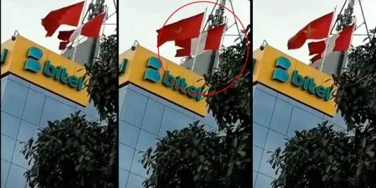 Empresa Bitel iza bandera peruana completamente destrozada y causa indignación