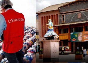 Izquierdo - Imagen referencial de la Contraloría con canastas / Derecho: Munucipalidad provincial de Caylloma