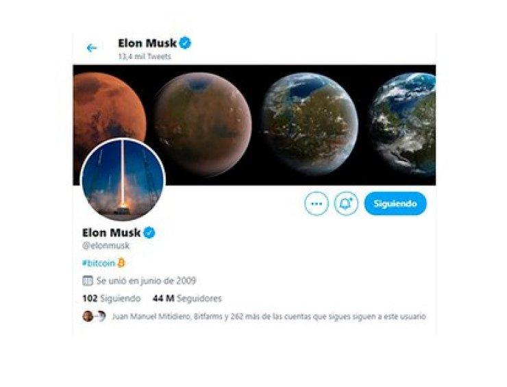 Musk sumó la B de bitcoin a su biografía de Twitter y la acción se disparó