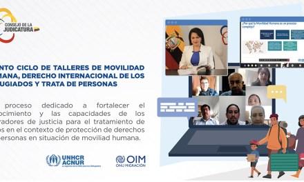 Jueces de frontera de Ecuador y Perú fortalecen sus conocimientos en temas de movilidad humana y trata de personas