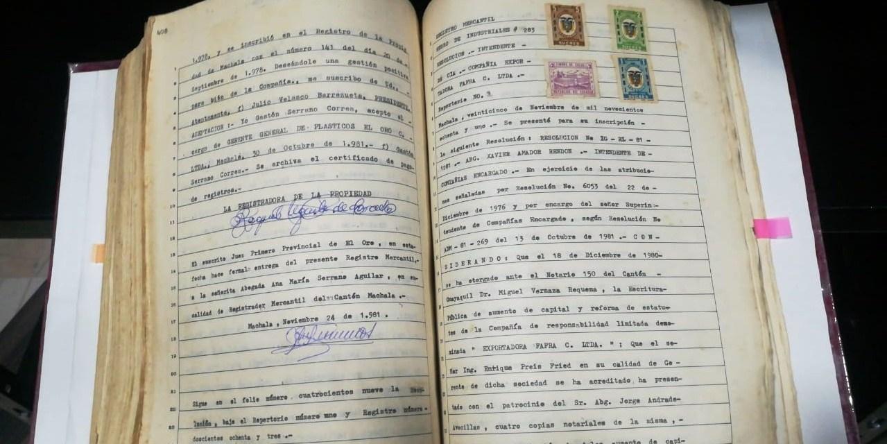 La historia registral mercantil de Machala gira en torno a la riqueza que producen sus tierras