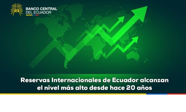 Reservas Internacionales de Ecuador logran el nivel más alto desde hace 20 años