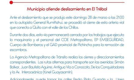 Vía que conecta a Quito con el Valle de Los Chillos permanecerá cerrada por 2 días