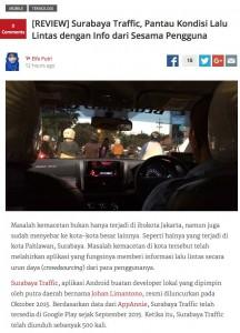 Tech In Asia: Pantau Kondisi Lalu Lintas dengan Surabaya Traffic