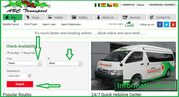 ABC Motors Online Booking front page