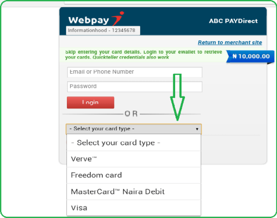 ABC Motors Online Booking payment page