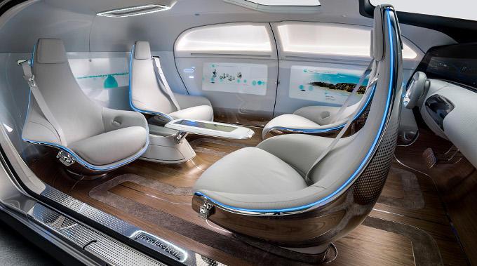 Mercedes driverless car chairs inside photo