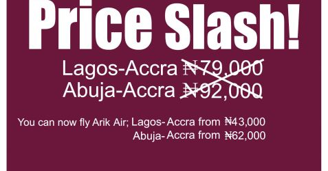 Arik Flight fee from Nigeria to Ghana
