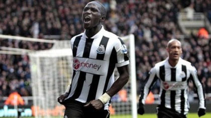 NEWCASTLE UNITED'S FRENCH MIDFIELDER, MOUSSA SISSOKO CELEBRATES HIS SECOND GOAL