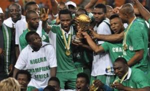 Super Eagles celebrating AFCON victory