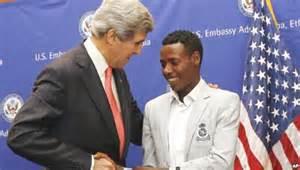 John Kerry and Lelisa Desisa At The US Embassy, Addis Ababa.