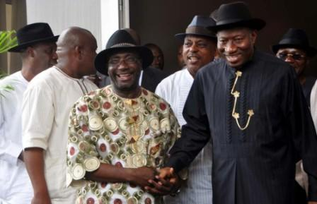 PRESIDENT GOODLUCK JONATHAN AND LEADER OF A FACTION OF PDP IN RIVERS STATE, FELIX OBUAH AT THE PRESIDENTIAL VILLA, ABUJA