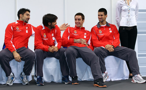 Victor Troicki (second from right) With Davis Cup Teammates.