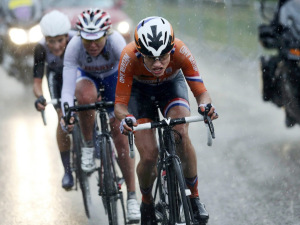 Netherlands' Marianne Vos competes in the women's cycling road race final at the 2012 Summer Olympics