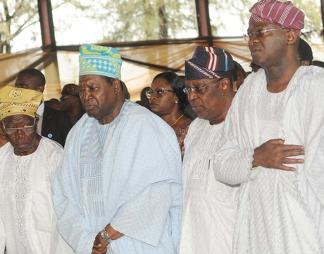 FROM LEFT: FORMER LAGOS GOVERNOR, CHIEF LATEEF JAKANDE;  ASOJU OBA OF LAGOS, CHIEF MOLADE  OKOYA-THOMAS;   ACN CHAIRMAN, LAGOS, CHIEF HENRY AJOMALE AND GOV. BABATUNDE FASHOLA OF LAGOS,  AT THE EVENT MARKING 2,300 DAYS OF GOV. FASHOLA IN LAGOS ON SATURDAY