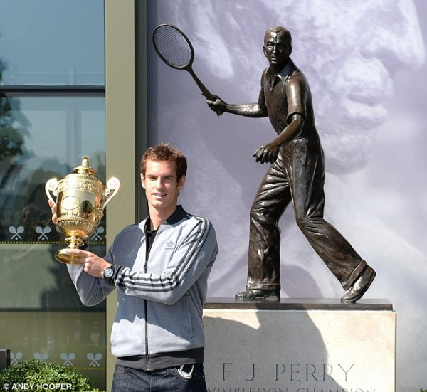Andy Murray Pose With His Wimbledon Trophy.