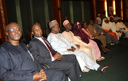 A CROSS SECTION OF MEMBERS OF THE PRESIDENTIAL ADVISORY COMMITTEE ON THE NATIONAL CONFERENCE DURING THE INAUGURATION OF THE COMMITTEE AT THE STATE HOUSE, PRESIDENTIAL VILLA, ABUJA. PHOTO: ABAYOMI ADESHIDA
