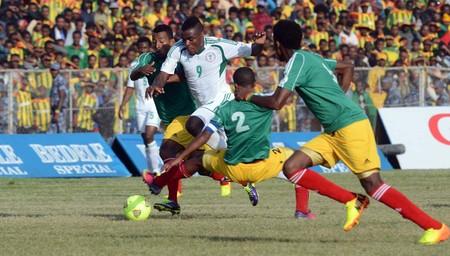 Image Credit: Sydney Mahlangu. Emenike Dribbles Three Ethiopian Defenders to Score in Addis Ababa.
