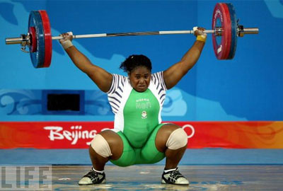 Nigerian Weightlifter at the Beijing Olympic.
