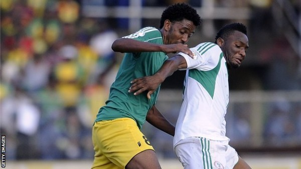 John Obi Mikel Struggles With an Ethiopian Marker in a World Cup Qualifier.