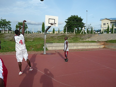 Basketball Players Training at the Games Village Facility.