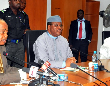 CHAIRMAN, GOVERNING BOARD OF INFRASTRUCTURE CONCESSION REGULATORY COMMISSION (ICRC), SEN. KEN NNAMANI; MINISTER OF WORKS, MR MIKE ONOLEMEMEN AND PERMANENT SECRETARY IN THE MINISTRY, MR ABUBAKAR MOHAMMED, DURING THE VISIT OF THE BOARD TO THE MINISTER IN ABUJA ON TUESDAY (21/1/14).
