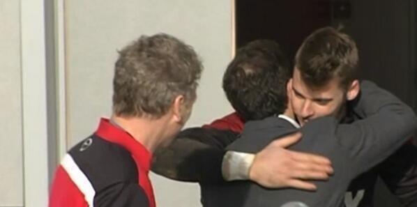 David Moyes Watches On as David De Gea and Juan Mata Embrace.