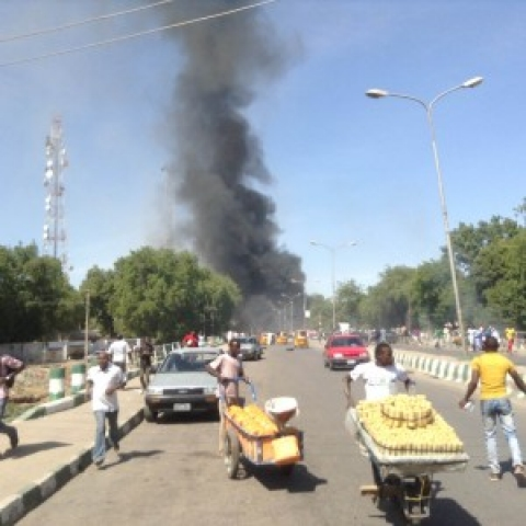picture taken near the scene of the blast in Maiduguri today  Photo: Premium Times