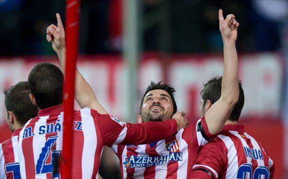 David Villa Celebrates Goal Against Sociedad.