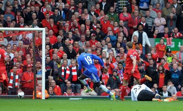 Demba Ba Opens Scoring for Chelsea From a Steven Gerrard Assist.