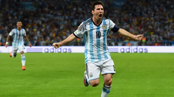 Lionel Messi Celebrates After Scoring a Superb Goal to Lift His World Cup Tally to Two.