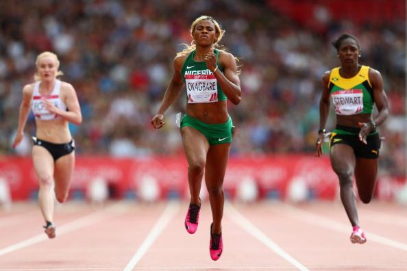 Blessing Okagbare Powers Ahead of Jamaica's Veronica Campbell-Brown and  Kerron Stewart in the Women's 100m  of the 2014 Commonwealth Games. Image: The BBC via Getty Image.