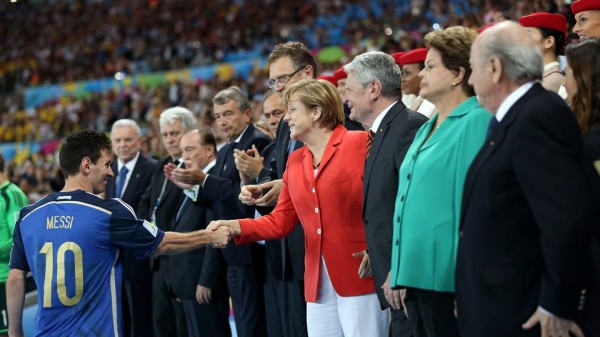 German Chancellor Angela Merkel Could Not Console Lionel Messi. Image: Fifa via Getty Image.