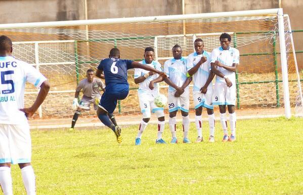 Akwa United's Namso Edo Takes a Sublime Free-Kick Against Nasarawa United. Image: LMC.