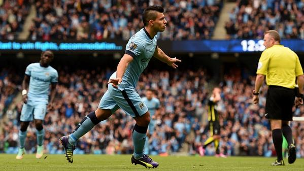 Sergio Aguero Scored All Four Goals as Man City Thrash Tottenham Hotspur 4-1. Image: Getty.