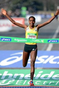Tadese Crossing the Finish Line in Paris