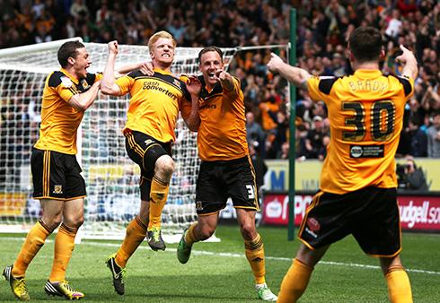 Jubilant Hull City Players.