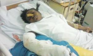 Folakemi Akinbode receiving treatment at the Teaching Hospital