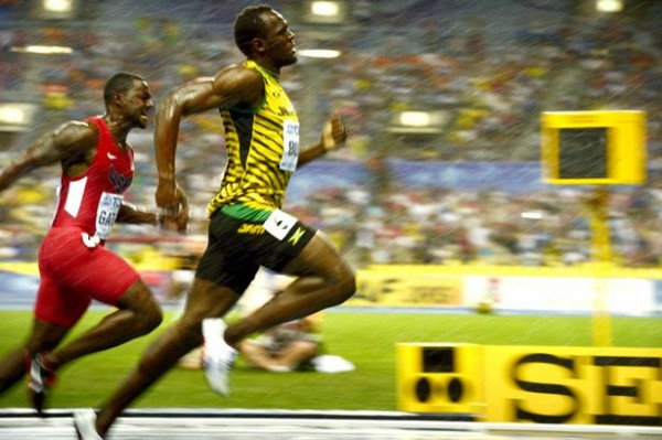Usain Bolt Powers to the Finish Line Ahead of Justin Gatlin.