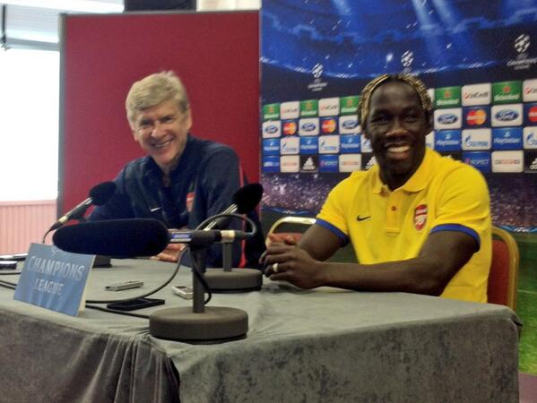 Arsene Wenger and Bacary Sagna at Tuesday's Pre-Match Conference.