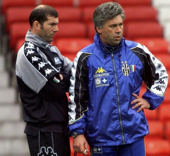Carlo Ancelotti and Zinedine Zidane at Juventus.